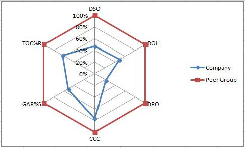 Radar Map Displays Performance Gaps Versus Peer Group
